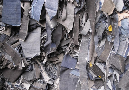 Rags of jeans that have been cut